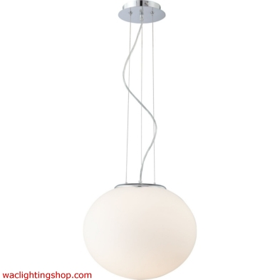 Pendants - 1 Light Pendant In Chrome And White Glass 6691PS/30