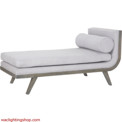 Sir David Waterfront Grey Stain with Morning Mist Mahogany and Linen Upholstered Chaise Lounge