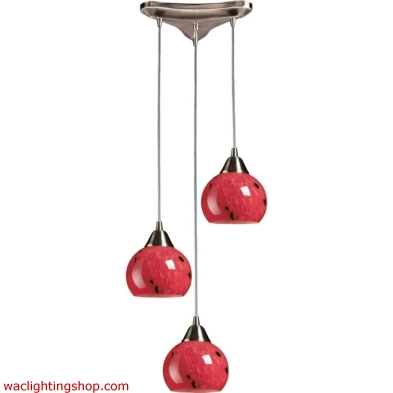 Mela 3 Light Pendant In Satin Nickel And Fire Red 101-3FR