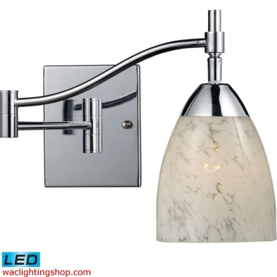 Celina 1 Light LED Swingarm Sconce In Polished Chrome And Snow White 10151/1PC-SW-LED