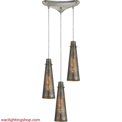 Rury 3 Light Pendant In Satin Nickel And Mercury Glass 10247/3