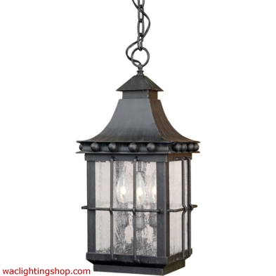 Taos Outdoor Hanging Lantern In Espresso And Seeded Glass