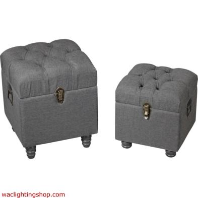Restoration - Grey Linen Storage Benches