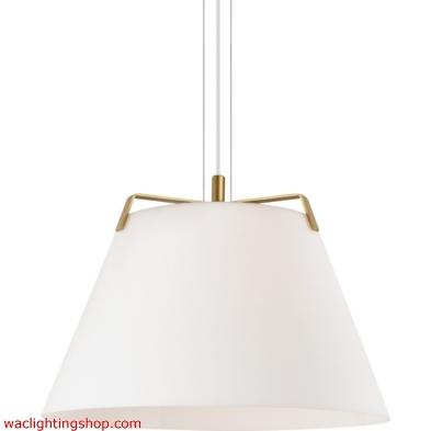 Devin Pendant - Satin Gold/White - Incandescent